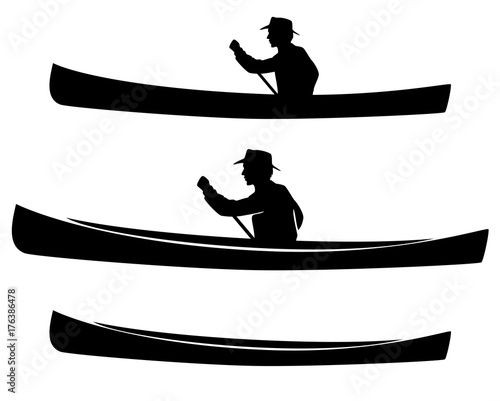 Fotografering man in canoe boat black vector silhouette and outline design set