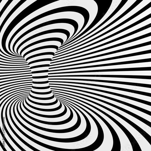 Plakat Czarno-biały streszczenie wektor tunelu