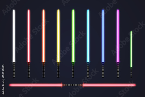 Futuristic light sabers set. Collection of glowing laser swords Canvas Print