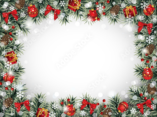 Decorative Christmas Frame with Ornaments, Pine Cones, Fir Branches ...