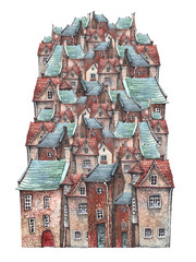 FototapetaA watercolor illustration of an old town on a hill with European brick houses, tile roofs and wooden doors. Fairytale of dreams.