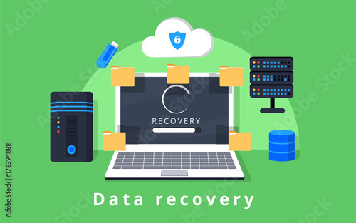 Data recovery, data backup, restoration and security flat design vector with ico Canvas Print