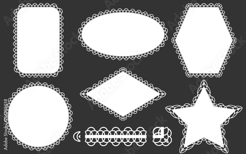 Valokuva  Set of lace frames doily and ribbon brush