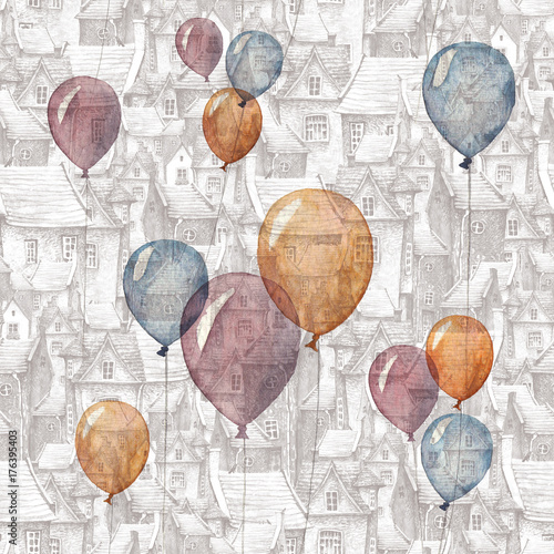 Tapety do pokoju dziewczynki  a-seamless-pattern-with-a-watercolor-illustration-of-balloons-and-an-old-town-on-the-background-roofs-european-brick-houses-and-flying-balloons-romantic-fairytale