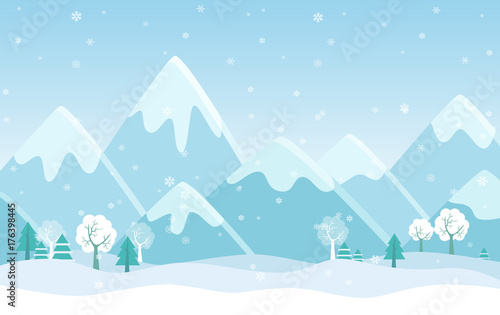 Photo sur Aluminium Piscine Vector Simple flat illustration of Winter Mountains landscape with trees, pines and hills.