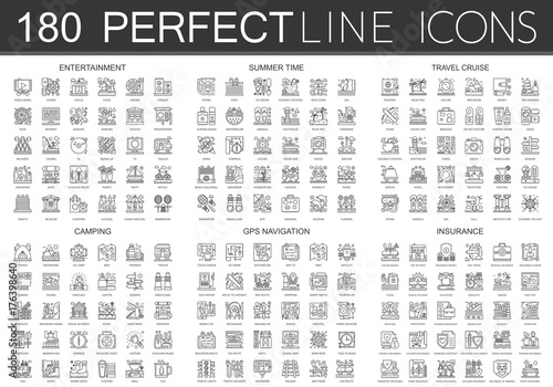 180 Outline Mini Concept Icons Symbols Of Entertainment Summer Time