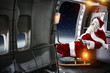 Santa claus in plane and xmas time