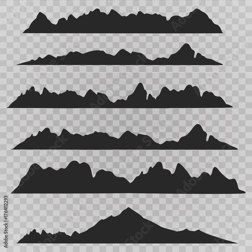 Spoed Foto op Canvas Grijze traf. Mountains landscape silhouette set. Abstract high mountain border background collection