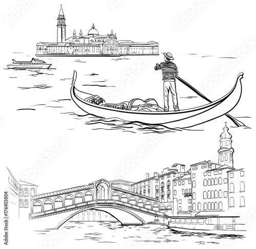 Stampa su Tela Gondolier near Lido island, Rialto Bridge, Venice