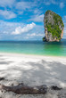 snow-white soft sand, turquoise sea and beautiful cliffs - paradise island of Poda, Thailand