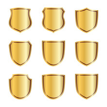 Gold Shield Shape Icons Set. 3...