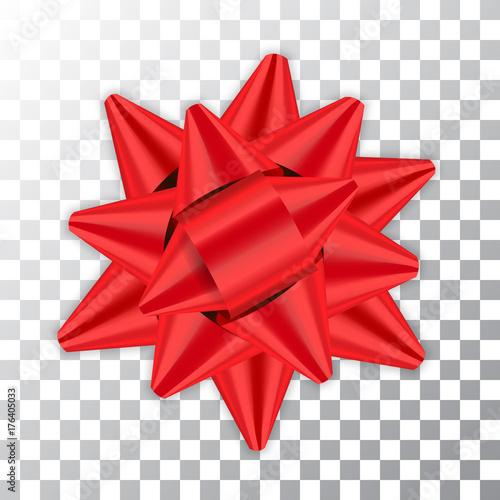 Red bow ribbon decor element package Shiny color satin decoration gift present isolated white transparent background Canvas