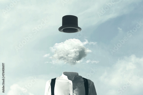 Photo  surreal man heads in the clouds