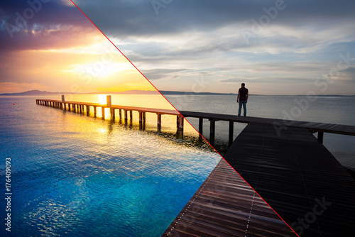 Fototapeta Before and after example of photo editing process, color correction,brightness and saturation of man silhouette standing on wooden pier at sunset obraz
