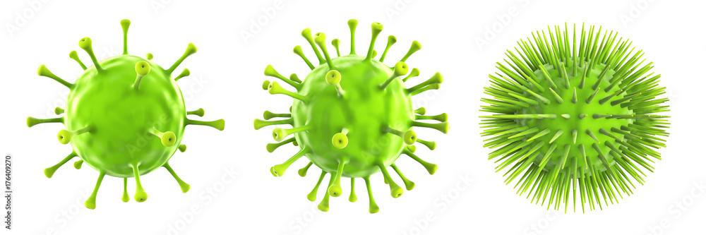 Fototapeta Grüne Viren isoliert auf weißen Hintergrund, 3D Rendering