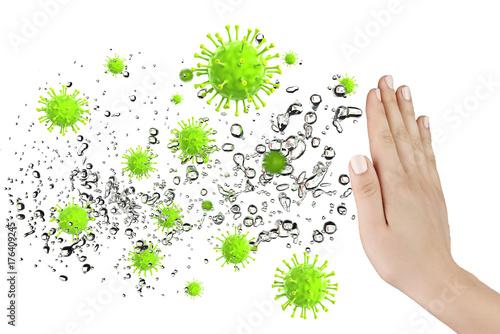 Obraz na plátně Hand mit Abwehr vor Viren und Bakterien, 3D Rendering