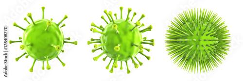 Grüne Viren isoliert auf weißen Hintergrund, 3D Rendering Canvas Print