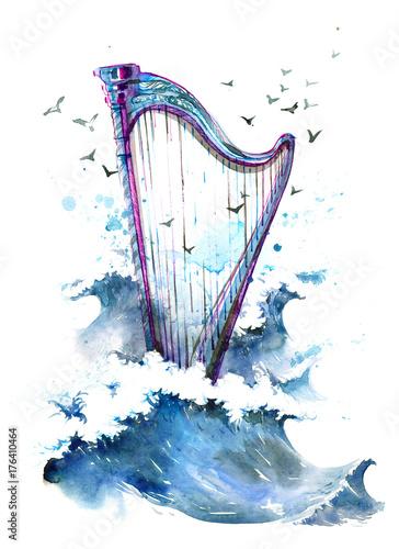 Staande foto Schilderingen harp