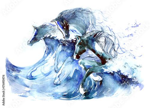 Foto auf Leinwand Gemälde horses