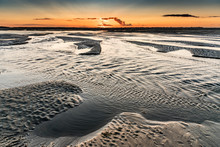 Sunrise On The Sea At The Baie De Somme At Low Tide
