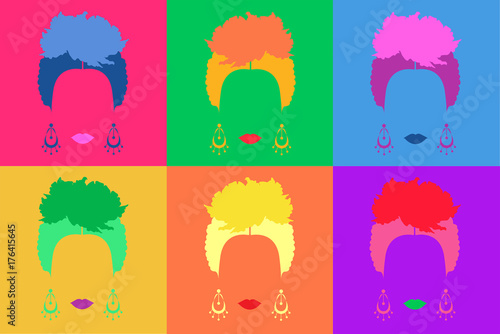Fotografie, Obraz Pop art Mexican or Spanish woman background Colored Vector Illustration Pop Art