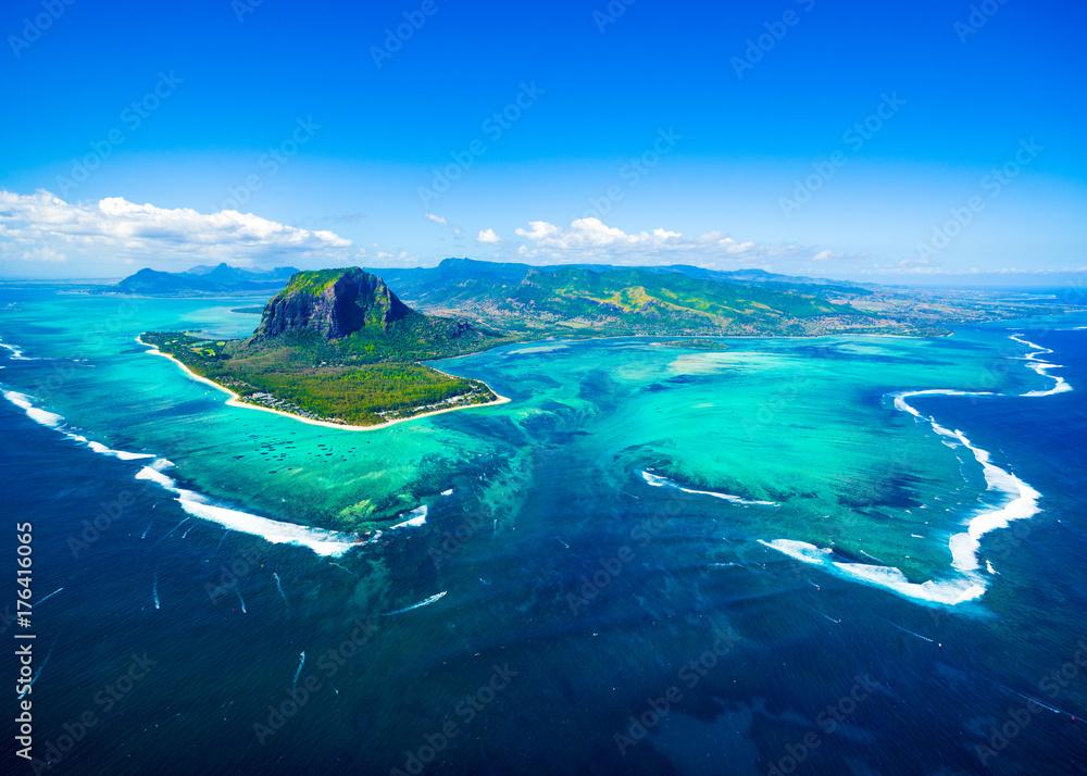 Fototapeta Aerial view of Mauritius island