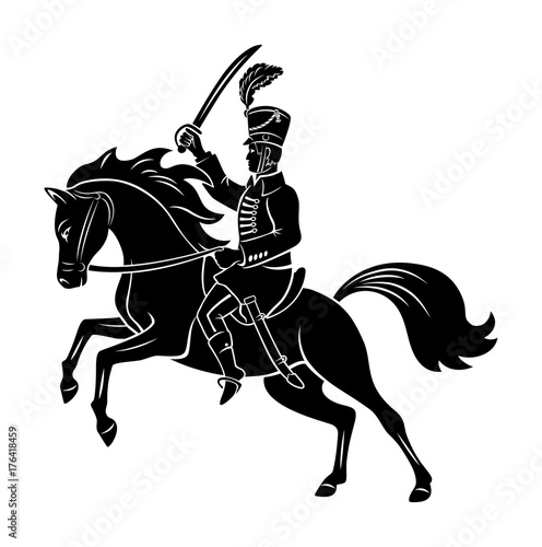 Canvastavla hussar on horseback