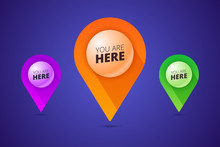 You Are Here Signs With Map Pointer, Pin Shape And 3d Effect Bal