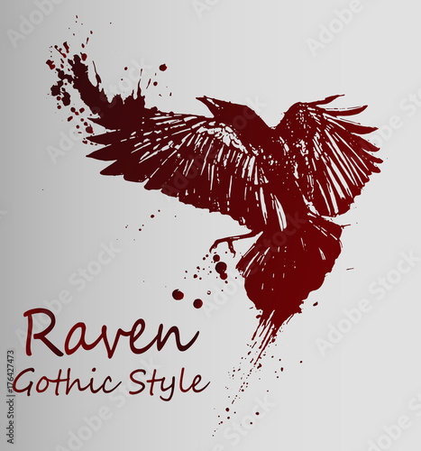 Photo  A beautiful dark sketch of a flying raven - gothic style