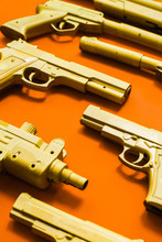 Close Up  Of Different Kind Of Firearm Weapon.