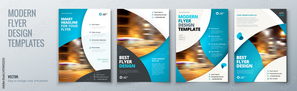 Fototapeta Flyer template layout design. Business flyer, brochure, magazine or flier mockup in bright colors. Vector