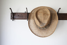 Old Straw Hat On Antique Coat ...