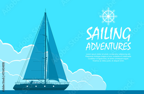 Spoed Foto op Canvas Turkoois Sailing yacht in the sea. Landscape with luxury yacht on huge blue cloudy sky background. Vector illustration.
