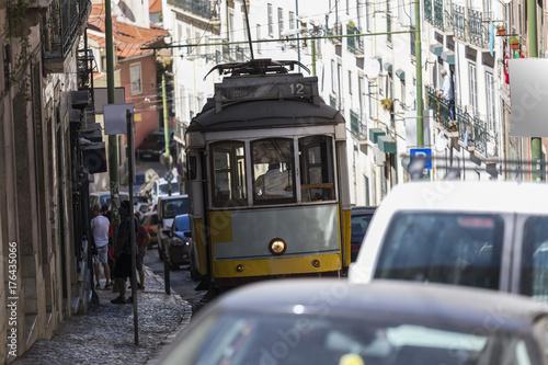 Plakat zabytkowy tramwaj Lizbona Portugalia