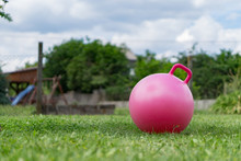 Large Rubber Ball In The Grass