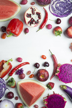 Red And Purple Raw Fruits And ...