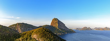 Top View Of The Sugar Loaf Hill, Guanabara Bay, Sea And Hills And Mountains Of Rio De Janeiro With The City Of Niteroi In The Background