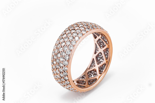 Fotografia, Obraz ring of sapphires and rubies with white and pink diamonds and gems