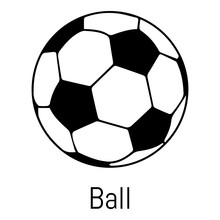 Football Ball Icon, Simple Black Style