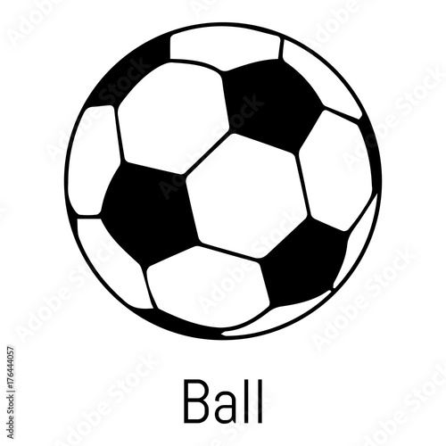 In de dag Bol Football ball icon, simple black style