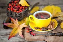 Hot Tea With Rose Hips, Autumn...