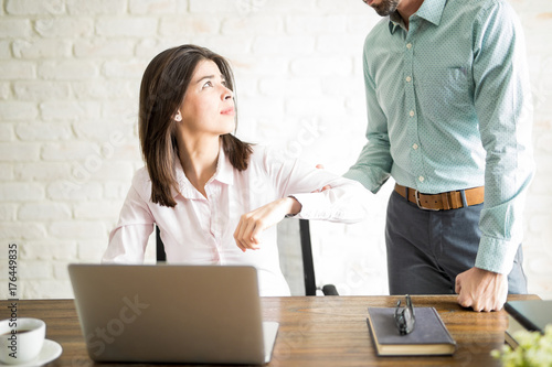 Fototapeta Young woman harassed by her boss obraz