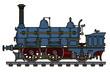 Historical blue steam locomotive