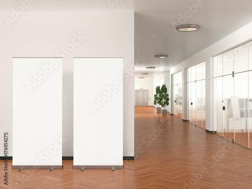 Photo sur Toile Pays d Europe Blank roll up banner stand in modern office