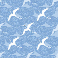 Crane Birds With Feathers On A Blue Background. Vector Seamless Pattern