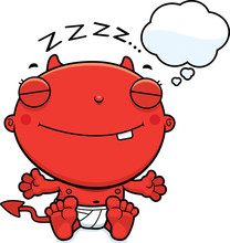 Cartoon Baby Devil Dreaming