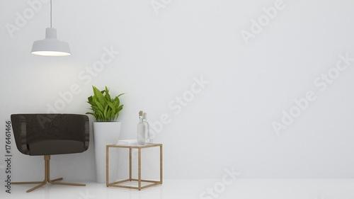 Fototapeta Wnętrze relaksuje astronautycznego meble i tło biała dekoracja minimalna w hotelu - izoluje pustego miejsca 3d rendering