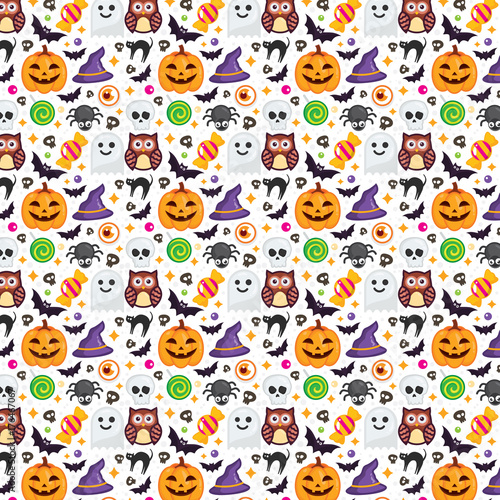 Halloween Pattern Wallpaper.Seamless Halloween Pattern Set Icon Vector Halloween On White Background Texture For Wallpaper Wrapping Paper And Etc Stock Vector Adobe Stock