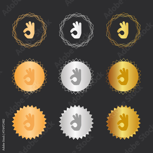 Fotografie, Obraz  Handgeste Okay - Bronze, Silber, Gold Medaillen