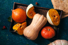 Variety Of Pumpkins Of Differe...